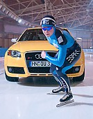 Subject: Claudia Pechstein mit dem Audi RS4; Tags: Verkehr, Straße, Sport, GER, Germany, Deutschland, Eisschnelllauf, Speed skating, Schaatsen, Damen, Ladies, Frau, Mesdames, Female, Women, Claudia Pechstein, Auto, Athlet, Athlete, Sportler, Wettkämpfer, Sportsman; PhotoID: 2005-03-17-0106