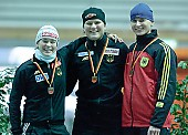 Subject: Jenny Wolf, Judith Dannhauer, Pamela Zoellner Siegerehrung 500m Sprint 2. Tag; Tags: Sport, Siegerehrung, Victory ceremony, Preisverleihung, Ehrung, Award ceremony, Award, Prize Giving, Pamela Zoellner, Judith Hesse, Jenny Wolf, GER, Germany, Deutschland, Eisschnelllauf, Speed skating, Schaatsen, Ehemalige, Detail, Damen, Ladies, Frau, Mesdames, Female, Women, Athlet, Athlete, Sportler, Wettkämpfer, Sportsman; PhotoID: 2006-01-07-0263