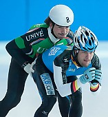 Subject: Bob de Jong, Jörg Dallmann; Tags: Training, Preparation, Ausbildung, Vorbereitung, Breeding, Education, Sport, Shorttrack, Short Track, NED, Netherlands, Niederlande, Holland, Dutch, Jörg Dallmann, Herren, Men, Gentlemen, Mann, Männer, Gents, Sirs, Mister, GER, Germany, Deutschland, Eisschnelllauf, Speed skating, Schaatsen, Detail, Bob de Jong, Athlet, Athlete, Sportler, Wettkämpfer, Sportsman; PhotoID: 2008-07-30-0140