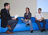 Subject: Paul Herrmann, Susanne Rudolph mit Jens Zimmermann im Interview; Tags: Susanne Rudolph, Sport, Shorttrack, Short Track, Pressekonferenz, Press conference, Media conference, Personen, Persons, Mensch, Individuum, Subjekt, Wesen, Individual, Character, Paul Herrmann, Moderator, Presenter, Herren, Men, Gentlemen, Mann, Männer, Gents, Sirs, Mister, Gesichter, Face, Close up, Antlitz, Konterfei, Visage, GER, Germany, Deutschland, Eisschnelllauf, Speed skating, Schaatsen, Detail, Damen, Ladies, Frau, Mesdames, Female, Women, Beruf, Athlet, Athlete, Sportler, Wettkämpfer, Sportsman; PhotoID: 2008-10-30-0069