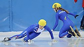 Subject: Francesca Compagnoni, Josephine Meschnik; Tags: Sturz, Fall, Hinfallen, Stürzen, Downfall, Sport, Shorttrack, Short Track, Josephine Meschnik, ITA, Italy, Italien, Francesca Compagnoni, Detail, Damen, Ladies, Frau, Mesdames, Female, Women, Athlet, Athlete, Sportler, Wettkämpfer, Sportsman; PhotoID: 2008-12-13-0001
