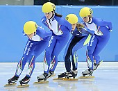 Subject: Elena Viviani, Francesca Compagnoni, Hanne van Hijfte, Josephine Meschnik; Tags: Sport, Shorttrack, Short Track, NED, Netherlands, Niederlande, Holland, Dutch, Josephine Meschnik, ITA, Italy, Italien, Hanne van Hijfte, Francesca Compagnoni, Elena Viviani, Damen, Ladies, Frau, Mesdames, Female, Women, Athlet, Athlete, Sportler, Wettkämpfer, Sportsman; PhotoID: 2008-12-13-0006