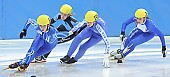 Subject: Elisa Lenke, Giulia Giordano, Rosalie Huisman, Saskia van Hoeven; Tags: Sport, Shorttrack, Short Track, Saskia van Hoeven, Rosalie Huisman, NED, Netherlands, Niederlande, Holland, Dutch, ITA, Italy, Italien, Giulia Giordano, GER, Germany, Deutschland, Elisa Lenke, Damen, Ladies, Frau, Mesdames, Female, Women, Athlet, Athlete, Sportler, Wettkämpfer, Sportsman; PhotoID: 2008-12-13-0093