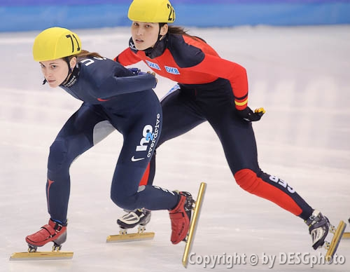 Aika Klein, Kimberly Derrick; Tags: Sport, Shorttrack, Short Track, Kimberly Derrick, GER, Germany, Deutschland, Ehemalige, Damen, Ladies, Frau, Mesdames, Female, Women, Athlet, Athlete, Sportler, Wettkämpfer, Sportsman, Aika Klein, USA, United States, Vereinigte Staaten von Amerika; PhotoID: 2009-02-13-1391