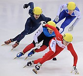Subject: Anthony Lobello, Bartosz Konopko, Jon Eley, Thibaut Fauconnet; Tags: USA, United States, Vereinigte Staaten von Amerika, Thibaut Fauconnet, Sport, Shorttrack, Short Track, POL, Poland, Polen, Jon Eley, Herren, Men, Gentlemen, Mann, Männer, Gents, Sirs, Mister, GBR, United Kingdom, Vereinigtes Königreich Großbritannien, Great Britan, FRA, France, Frankreich, Bartosz Konopko, Athlet, Athlete, Sportler, Wettkämpfer, Sportsman, Anthony Lobello; PhotoID: 2009-02-15-0742