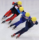 Subject: Christin Priebst, Eun-Ju Jung, Kimberly Derrick, Véronique Pierron; Tags: Véronique Pierron, USA, United States, Vereinigte Staaten von Amerika, Sport, Shorttrack, Short Track, Kimberly Derrick, KOR, South Korea, Südkorea, GER, Germany, Deutschland, FRA, France, Frankreich, Eun-Ju Jung, Damen, Ladies, Frau, Mesdames, Female, Women, Christin Priebst, Athlet, Athlete, Sportler, Wettkämpfer, Sportsman; PhotoID: 2009-02-15-0889