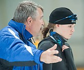 Subject: Corinna Wetzel, Uwe-Michael Hüttenrauch; Tags: Uwe-Michael Hüttenrauch, Trainer, Coach, Betreuer, Sport, GER, Germany, Deutschland, Eisschnelllauf, Speed skating, Schaatsen, Detail, Damen, Ladies, Frau, Mesdames, Female, Women, Corinna Wetzel, Coaching, Athlet, Athlete, Sportler, Wettkämpfer, Sportsman; PhotoID: 2009-10-10-0935