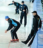 Subject: André Hoffmann, Jan Coopmans; Tags: Trainer, Coach, Betreuer, Sport, Jan Coopmans, GER, Germany, Deutschland, Eisschnelllauf, Speed skating, Schaatsen, André Hoffmann; PhotoID: 2010-01-09-0267