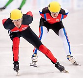 Subject: Evgeny Kozulin, Sebastian Praus; Tags: Sport, Shorttrack, Short Track, Sebastian Praus, RUS, Russian Federation, Russische Föderation, Russia, Herren, Men, Gentlemen, Mann, Männer, Gents, Sirs, Mister, GER, Germany, Deutschland, Evgeny Kozulin, Athlet, Athlete, Sportler, Wettkämpfer, Sportsman; PhotoID: 2010-01-22-3756