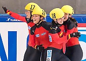 Subject: Aika Klein, Bianca Walter, Christin Priebst, Julia Riedel; Tags: Shorttrack, Short Track, Julia Riedel, GER, Germany, Deutschland, Ehemalige, Damen, Ladies, Frau, Mesdames, Female, Women, Christin Priebst, Bianca Walter, Athlet, Athlete, Sportler, Wettkämpfer, Sportsman, Aika Klein, Sport; PhotoID: 2010-01-24-0381