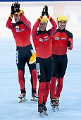 Subject: Robert Seifert, Sebastian Praus, Tyson Heung; Tags: Tyson Heung, Sport, Shorttrack, Short Track, Sebastian Praus, Robert Seifert, Herren, Men, Gentlemen, Mann, Männer, Gents, Sirs, Mister, GER, Germany, Deutschland, Athlet, Athlete, Sportler, Wettkämpfer, Sportsman; PhotoID: 2010-01-24-0431