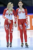 Subject: Elena Sokhryakova, Evgeniya Lalenkova; Tags: Athlet, Athlete, Sportler, Wettkämpfer, Sportsman, Damen, Ladies, Frau, Mesdames, Female, Women, Eisschnelllauf, Speed skating, Schaatsen, Jelena Sokhrjakova, Jevgenija Dmitrijeva, RUS, Russian Federation, Russische Föderation, Russia, Sport; PhotoID: 2010-11-14-0221