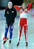 Subject: Elena Sokhryakova, Seon-Yeong No; Tags: Athlet, Athlete, Sportler, Wettkämpfer, Sportsman, Damen, Ladies, Frau, Mesdames, Female, Women, Eisschnelllauf, Speed skating, Schaatsen, Jelena Sokhrjakova, KOR, South Korea, Südkorea, RUS, Russian Federation, Russische Föderation, Russia, Seon-Yeong No, Sport; PhotoID: 2010-11-20-0173