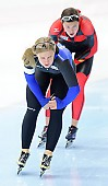 Subject: Gabriele Hirschbichler, Jenny Wolf; Tags: Athlet, Athlete, Sportler, Wettkämpfer, Sportsman, Damen, Ladies, Frau, Mesdames, Female, Women, Eisschnelllauf, Speed skating, Schaatsen, GER, Germany, Deutschland, Gabriele Hirschbichler, Jenny Wolf, Sport; PhotoID: 2011-11-04-0041