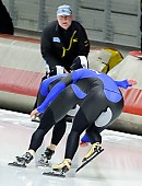 Subject: Jenny Wolf, Monique Angermüller, Thomas Schubert; Tags: Athlet, Athlete, Sportler, Wettkämpfer, Sportsman, Damen, Ladies, Frau, Mesdames, Female, Women, Eisschnelllauf, Speed skating, Schaatsen, GER, Germany, Deutschland, Jenny Wolf, Monique Angermüller, Sport, Thomas Schubert, Trainer, Coach, Betreuer; PhotoID: 2011-11-04-0358
