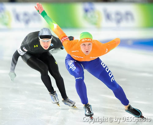 Brian Hansen, Michel Mulder; Tags: Athlet, Athlete, Sportler, Wettkämpfer, Sportsman, Brian Hansen, Eisschnelllauf, Speed skating, Schaatsen, Herren, Men, Gentlemen, Mann, Männer, Gents, Sirs, Mister, Michel Mulder, NED, Netherlands, Niederlande, Holland, Dutch, Sport, USA, United States, Vereinigte Staaten von Amerika; PhotoID: 2012-03-11-0243