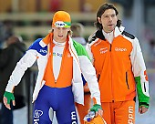 Subject: Gerard van Velde, Michel Mulder; Tags: Athlet, Athlete, Sportler, Wettkämpfer, Sportsman, Eisschnelllauf, Speed skating, Schaatsen, Gerard van Velde, Herren, Men, Gentlemen, Mann, Männer, Gents, Sirs, Mister, Michel Mulder, NED, Netherlands, Niederlande, Holland, Dutch, Sport, Trainer, Coach, Betreuer; PhotoID: 2012-03-11-0259