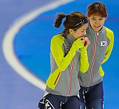 Subject: Hyeon-Yeong Kim, Seung-Joo Park; Tags: Athlet, Athlete, Sportler, Wettkämpfer, Sportsman, Damen, Ladies, Frau, Mesdames, Female, Women, Eisschnelllauf, Speed skating, Schaatsen, Hyeon-Yeong Kim, KOR, South Korea, Südkorea, Seung-Joo Park, Sport; PhotoID: 2013-12-07-0059