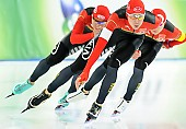 Subject: Bailin Li, Longjiang Sun, Rehanbai Talabuhan; Tags: Athlet, Athlete, Sportler, Wettkämpfer, Sportsman, Bailin Li, CHN, China, Volksrepublik China, Detail, Eisschnelllauf, Speed skating, Schaatsen, Herren, Men, Gentlemen, Mann, Männer, Gents, Sirs, Mister, Longjiang Sun, Rehanbai Talabuhan, Sport, Team, Team Pursuit, Mannschaftslauf, Verfolgungsrennen, Jagdrennen, Mannschaftsverfolgung, Teamverfolgung; PhotoID: 2014-12-05-1670