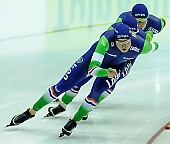 Subject: Douwe de Vries, Koen Verweij, Sven Kramer; Tags: Athlet, Athlete, Sportler, Wettkämpfer, Sportsman, Detail, Douwe de Vries, Eisschnelllauf, Speed skating, Schaatsen, Herren, Men, Gentlemen, Mann, Männer, Gents, Sirs, Mister, Koen Verweij, NED, Netherlands, Niederlande, Holland, Dutch, Sport, Sven Kramer, Team, Team Pursuit, Mannschaftslauf, Verfolgungsrennen, Jagdrennen, Mannschaftsverfolgung, Teamverfolgung; PhotoID: 2015-02-13-0610