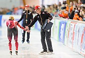 Subject: Claudia Pechstein, Klaus Ebert; Tags: Athlet, Athlete, Sportler, Wettkämpfer, Sportsman, Claudia Pechstein, Damen, Ladies, Frau, Mesdames, Female, Women, Eisschnelllauf, Speed skating, Schaatsen, GER, Germany, Deutschland, Klaus Ebert, Sport, Trainer, Coach, Betreuer; PhotoID: 2015-03-22-0117