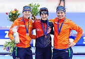 Subject: Diane Valkenburg, Marije Joling, Martina Sáblíková; Tags: Athlet, Athlete, Sportler, Wettkämpfer, Sportsman, CZE, Czech Republic, Tschechische Republik, Tschechien, Damen, Ladies, Frau, Mesdames, Female, Women, Detail, Diane Valkenburg, Eisschnelllauf, Speed skating, Schaatsen, Marije Joling, Martina Sablikova, NED, Netherlands, Niederlande, Holland, Dutch, Siegerehrung, Victory ceremony, Preisverleihung, Ehrung, Award ceremony, Award, Prize Giving, Sport; PhotoID: 2015-03-22-0129