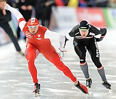 Subject: Haralds Silovs, Konrad Niedźwiedzki; Tags: Athlet, Athlete, Sportler, Wettkämpfer, Sportsman, Eisschnelllauf, Speed skating, Schaatsen, Haralds Silovs, Herren, Men, Gentlemen, Mann, Männer, Gents, Sirs, Mister, Konrad Niedzwiedzki, LAT, Latvia, Lettland, POL, Poland, Polen, Sport; PhotoID: 2016-03-06-0070