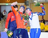 Subject: Anna Yurakova, Ireen Wüst, Martina Sáblíková; Tags: Sport, Siegerehrung, Victory ceremony, Preisverleihung, Ehrung, Award ceremony, Award, Prize Giving, RUS, Russian Federation, Russische Föderation, Russia, NED, Netherlands, Niederlande, Holland, Dutch, Martina Sablikova, Ireen Wüst, Eisschnelllauf, Speed skating, Schaatsen, Detail, Damen, Ladies, Frau, Mesdames, Female, Women, CZE, Czech Republic, Tschechische Republik, Tschechien, Athlet, Athlete, Sportler, Wettkämpfer, Sportsman, Anna Yurakova; PhotoID: 2017-01-29-0698