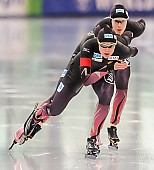 Subject: Bente Pflug, Gabriele Hirschbichler, Roxanne Dufter; Tags: Athlet, Athlete, Sportler, Wettkämpfer, Sportsman, Bente Kraus, Damen, Ladies, Frau, Mesdames, Female, Women, Eisschnelllauf, Speed skating, Schaatsen, GER, Germany, Deutschland, Gabriele Hirschbichler, Roxanne Dufter, Sport; PhotoID: 2017-03-11-0264