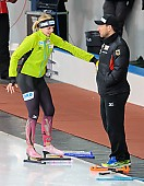Subject: Bente Pflug, Danny Leger; Tags: Athlet, Athlete, Sportler, Wettkämpfer, Sportsman, Bente Kraus, Damen, Ladies, Frau, Mesdames, Female, Women, Danny Leger, Eisschnelllauf, Speed skating, Schaatsen, GER, Germany, Deutschland, Sport, Trainer, Coach, Betreuer; PhotoID: 2017-03-11-0681