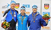 Subject: Joel Dufter, Moritz Geisreiter, Patrick Beckert; Tags: Sport, Siegerehrung, Victory ceremony, Preisverleihung, Ehrung, Award ceremony, Award, Prize Giving, Patrick Beckert, Moritz Geisreiter, Joel Dufter, Herren, Men, Gentlemen, Mann, Männer, Gents, Sirs, Mister, GER, Germany, Deutschland, Eisschnelllauf, Speed skating, Schaatsen, Detail, Athlet, Athlete, Sportler, Wettkämpfer, Sportsman; PhotoID: 2017-10-28-1504