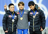 Subject: Jae-Woong Jeong, Kouki Kubo, Torai Ishikawa; Tags: Torai Ishikawa, Sport, Siegerehrung, Victory ceremony, Preisverleihung, Ehrung, Award ceremony, Award, Prize Giving, Kouki Kubo, KOR, South Korea, Südkorea, Jae-Woong Jeong, JPN, Japan, Nippon, Herren, Men, Gentlemen, Mann, Männer, Gents, Sirs, Mister, Eisschnelllauf, Speed skating, Schaatsen, Detail, Athlet, Athlete, Sportler, Wettkämpfer, Sportsman; PhotoID: 2018-03-09-0591