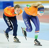 Subject: Jetske Wiersma, Michelle de Jong; Tags: Training, Preparation, Ausbildung, Vorbereitung, Breeding, Education, Trainer, Coach, Betreuer, Sport, NED, Netherlands, Niederlande, Holland, Dutch, Michelle de Jong, Jetske Wiersma, Eisschnelllauf, Speed skating, Schaatsen, Detail, Damen, Ladies, Frau, Mesdames, Female, Women, Athlet, Athlete, Sportler, Wettkämpfer, Sportsman; PhotoID: 2018-03-10-0007