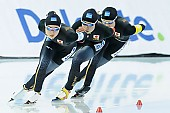 Subject: Karuna Koyama, Lemi Williamson, Yui Fujimori; Tags: Yui Fujimori, Team, Team Pursuit, Mannschaftslauf, Verfolgungsrennen, Jagdrennen, Mannschaftsverfolgung, Teamverfolgung, Sport, Lemi Williamson, Karuna Koyama, JPN, Japan, Nippon, Eisschnelllauf, Speed skating, Schaatsen, Detail, Damen, Ladies, Frau, Mesdames, Female, Women, Athlet, Athlete, Sportler, Wettkämpfer, Sportsman; PhotoID: 2018-03-11-0075