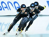 Subject: Karuna Koyama, Lemi Williamson, Yui Fujimori; Tags: Yui Fujimori, Team, Team Pursuit, Mannschaftslauf, Verfolgungsrennen, Jagdrennen, Mannschaftsverfolgung, Teamverfolgung, Sport, Lemi Williamson, Karuna Koyama, JPN, Japan, Nippon, Eisschnelllauf, Speed skating, Schaatsen, Detail, Damen, Ladies, Frau, Mesdames, Female, Women, Athlet, Athlete, Sportler, Wettkämpfer, Sportsman; PhotoID: 2018-03-11-0076