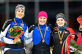 Subject: Gabriele Hirschbichler, Michelle Uhrig, Roxanne Dufter; Tags: Sport, Siegerehrung, Victory ceremony, Preisverleihung, Ehrung, Award ceremony, Award, Prize Giving, Roxanne Dufter, Michelle Uhrig, Gabriele Hirschbichler, GER, Germany, Deutschland, Eisschnelllauf, Speed skating, Schaatsen, Detail, Daria Kamelkova, Damen, Ladies, Frau, Mesdames, Female, Women, Athlet, Athlete, Sportler, Wettkämpfer, Sportsman; PhotoID: 2018-11-02-0174