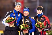 Subject: Claudia Pechstein, Lea-Sophie Scholz, Roxanne Dufter; Tags: Sport, Siegerehrung, Victory ceremony, Preisverleihung, Ehrung, Award ceremony, Award, Prize Giving, Roxanne Dufter, Lea-Sophie Scholz, GER, Germany, Deutschland, Eisschnelllauf, Speed skating, Schaatsen, Detail, Damen, Ladies, Frau, Mesdames, Female, Women, Claudia Pechstein, Athlet, Athlete, Sportler, Wettkämpfer, Sportsman; PhotoID: 2018-11-04-0309
