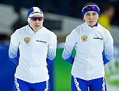 Subject: Elena Sokhryakova, Evgeniya Lalenkova; Tags: Sport, RUS, Russian Federation, Russische Föderation, Russia, Evgeniya Lalenkova, Elena Sokhryakova, Daria Kamelkova, Damen, Ladies, Frau, Mesdames, Female, Women, Athlet, Athlete, Sportler, Wettkämpfer, Sportsman, Eisschnelllauf, Speed skating, Schaatsen; PhotoID: 2018-12-16-0731