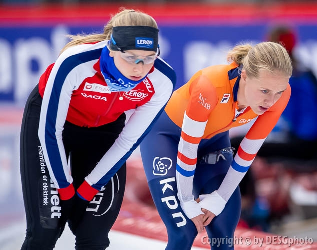 Hege Bøkko, Johanna Letitia de Jong; Tags: Athlet, Athlete, Sportler, Wettkämpfer, Sportsman, Damen, Ladies, Frau, Mesdames, Female, Women, Eisschnelllauf, Speed skating, Schaatsen, Hege Bøkko, Johanna Letitia de Jong, NED, Netherlands, Niederlande, Holland, Dutch, NOR, Norway, Norwegen, Sport; PhotoID: 2019-02-08-0021
