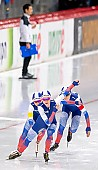 Subject: Elizaveta Kazelina, Evgeniya Lalenkova, Natalia Voronina; Tags: Athlet, Athlete, Sportler, Wettkämpfer, Sportsman, Damen, Ladies, Frau, Mesdames, Female, Women, Eisschnelllauf, Speed skating, Schaatsen, Elizaveta Kazelina, Evgeniya Lalenkova, Natalia Voronina, RUS, Russian Federation, Russische Föderation, Russia, Sport; PhotoID: 2019-02-08-0364