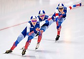 Subject: Elizaveta Kazelina, Evgeniya Lalenkova, Natalia Voronina; Tags: Athlet, Athlete, Sportler, Wettkämpfer, Sportsman, Damen, Ladies, Frau, Mesdames, Female, Women, Eisschnelllauf, Speed skating, Schaatsen, Elizaveta Kazelina, Evgeniya Lalenkova, Natalia Voronina, RUS, Russian Federation, Russische Föderation, Russia, Sport; PhotoID: 2019-02-08-0368