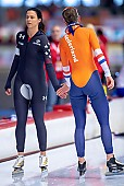 Subject: Brittany Bowe, Ireen Wüst; Tags: Athlet, Athlete, Sportler, Wettkämpfer, Sportsman, Brittany Bowe, Damen, Ladies, Frau, Mesdames, Female, Women, Eisschnelllauf, Speed skating, Schaatsen, Ireen Wüst, NED, Netherlands, Niederlande, Holland, Dutch, Sport, USA, United States, Vereinigte Staaten von Amerika; PhotoID: 2019-02-10-0194