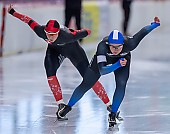 Subject: Jenny Peißker, Ramona Härdi; Tags: Athlet, Athlete, Sportler, Wettkämpfer, Sportsman, Damen, Ladies, Frau, Mesdames, Female, Women, Eisschnelllauf, Speed skating, Schaatsen, GER, Germany, Deutschland, Jenny Peißker, Ramona Härdi, SUI, Bulgaria, Bulgarien, Sport; PhotoID: 2019-11-09-0699