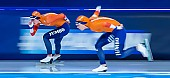 Motiv: Antoinette de Jong, Joy Beune; Tags: Antoinette de Jong, Athlet, Athlete, Sportler, Wettkämpfer, Sportsman, Damen, Ladies, Frau, Mesdames, Female, Women, Eisschnelllauf, Speed skating, Schaatsen, Joy Beune, NED, Netherlands, Niederlande, Holland, Dutch, Sport; PhotoID: 2021-02-11-0102